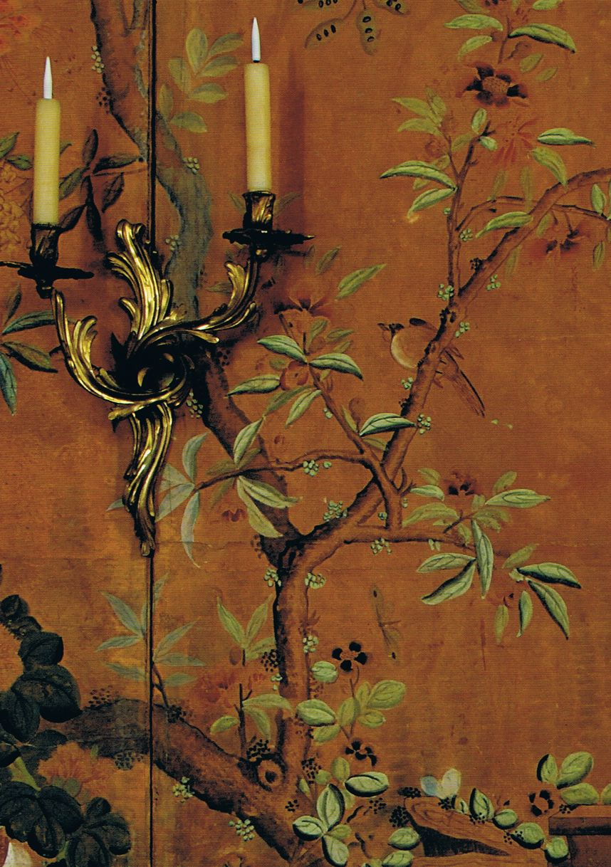 "Burnt Sienna Chinoiserie Walls in the Chinese Cabinet Room at La Mirande in Avignon - photo from Vicki Archer's book ""French Essence"""