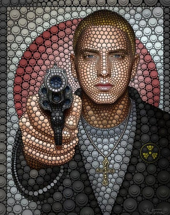 Famous Pop Stars Painted With Digital Dots Ben heine