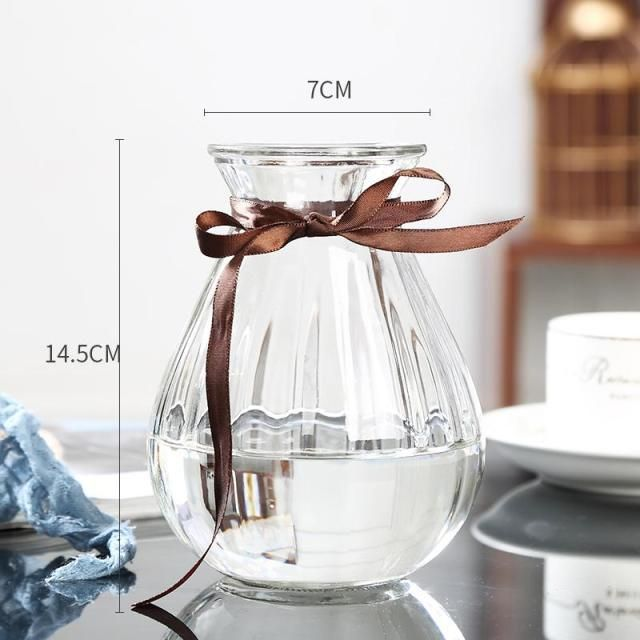 Photo of Glass Vase Simple Creative Ornaments Living Room European Transparent Flower Arrangement Flower Dried Flower Container – D