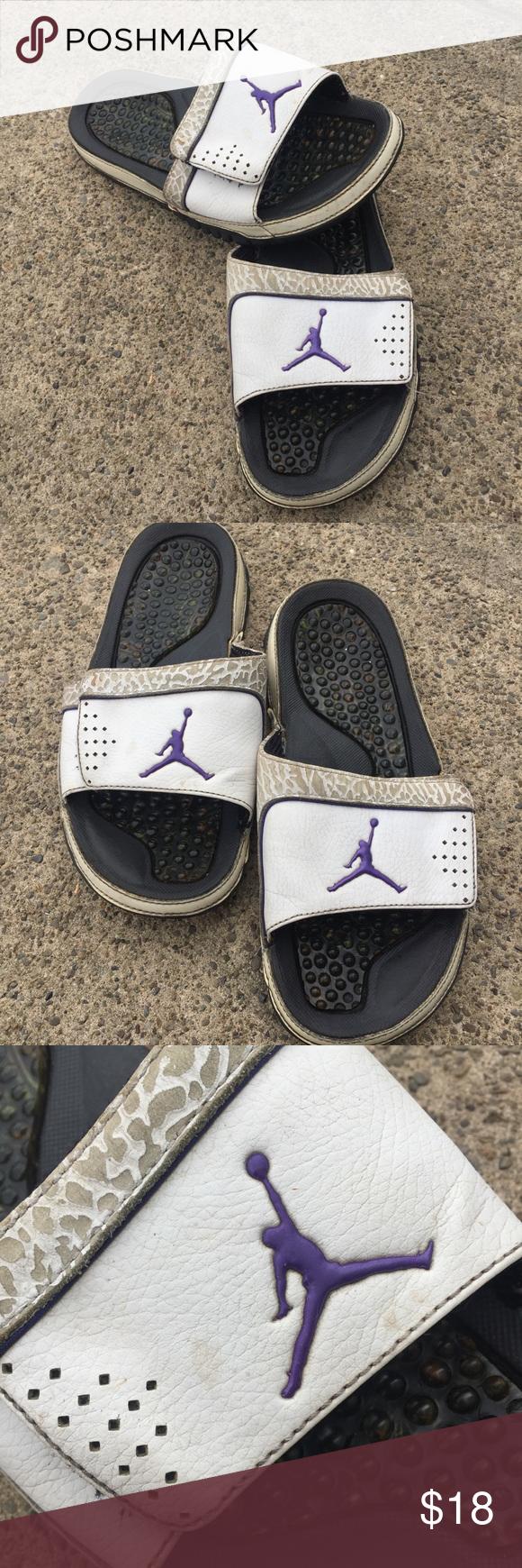 feed288d008f White and Purple Jordan Slides Mens size 7 White and purple Jordan slides. Men s  size 7