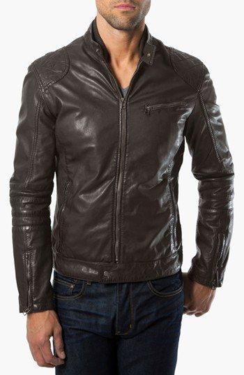 fb598b9e1 Pin by Lookastic on Men's Leather Jackets | Brown leather bomber ...