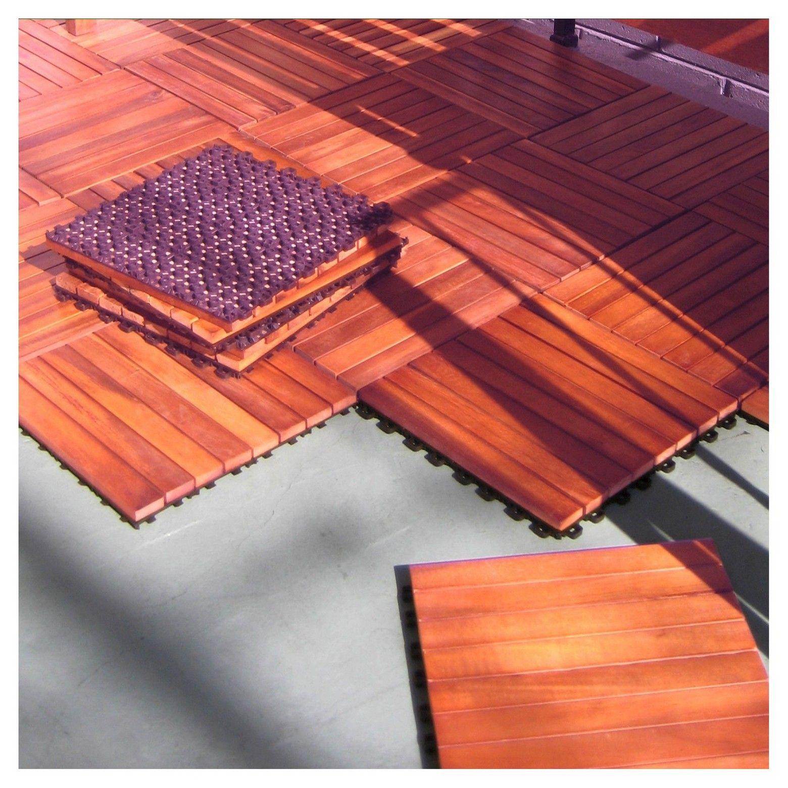 Vifah 8 Slat Eucalyptus Interlocking Deck Tile Brown Set Of 10 Deck Tile Wood Deck Tiles Interlocking Deck Tiles