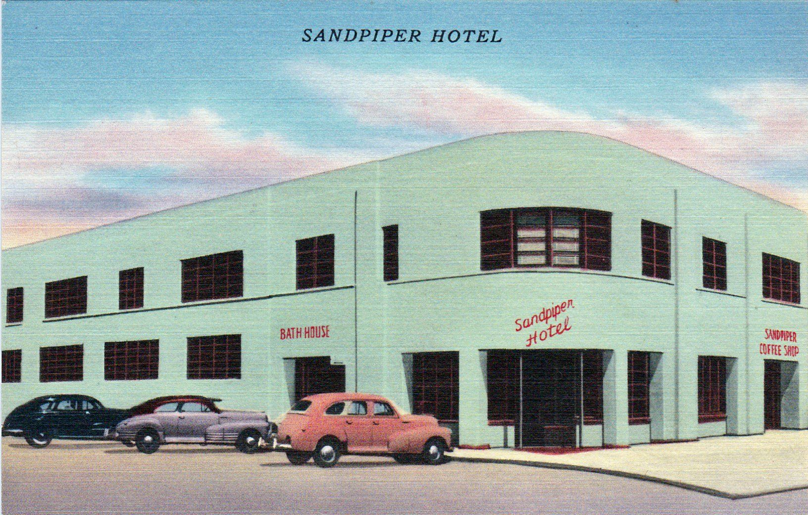 Sandpiper Hotel 5th Ave North And Ocean Front Jacksonville Fl Ca 1940 S Hotel Postcard Surface Textures