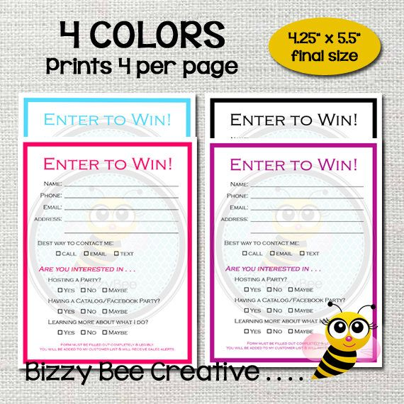 ENTER TO WIN | Raffle Ticket | Drawing Slip | Door Prize Form ...