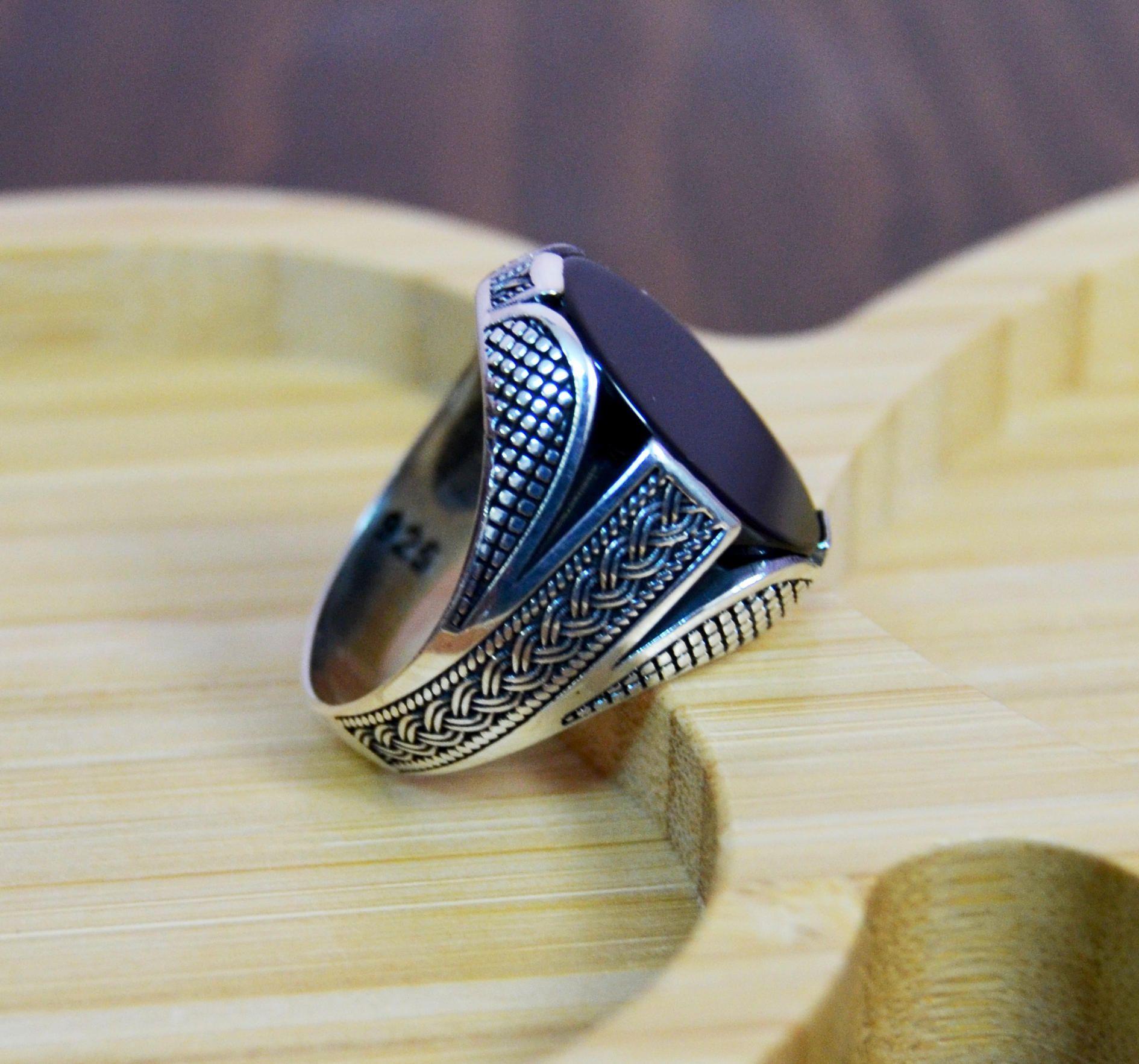 Men/'s Ring Gift for Him Silver Men/'s Ring Men/'s Jewelry Onyx Ring Turkish Handmade Ring 925k Sterling Silver Ring, Ottoman Men/'s Ring