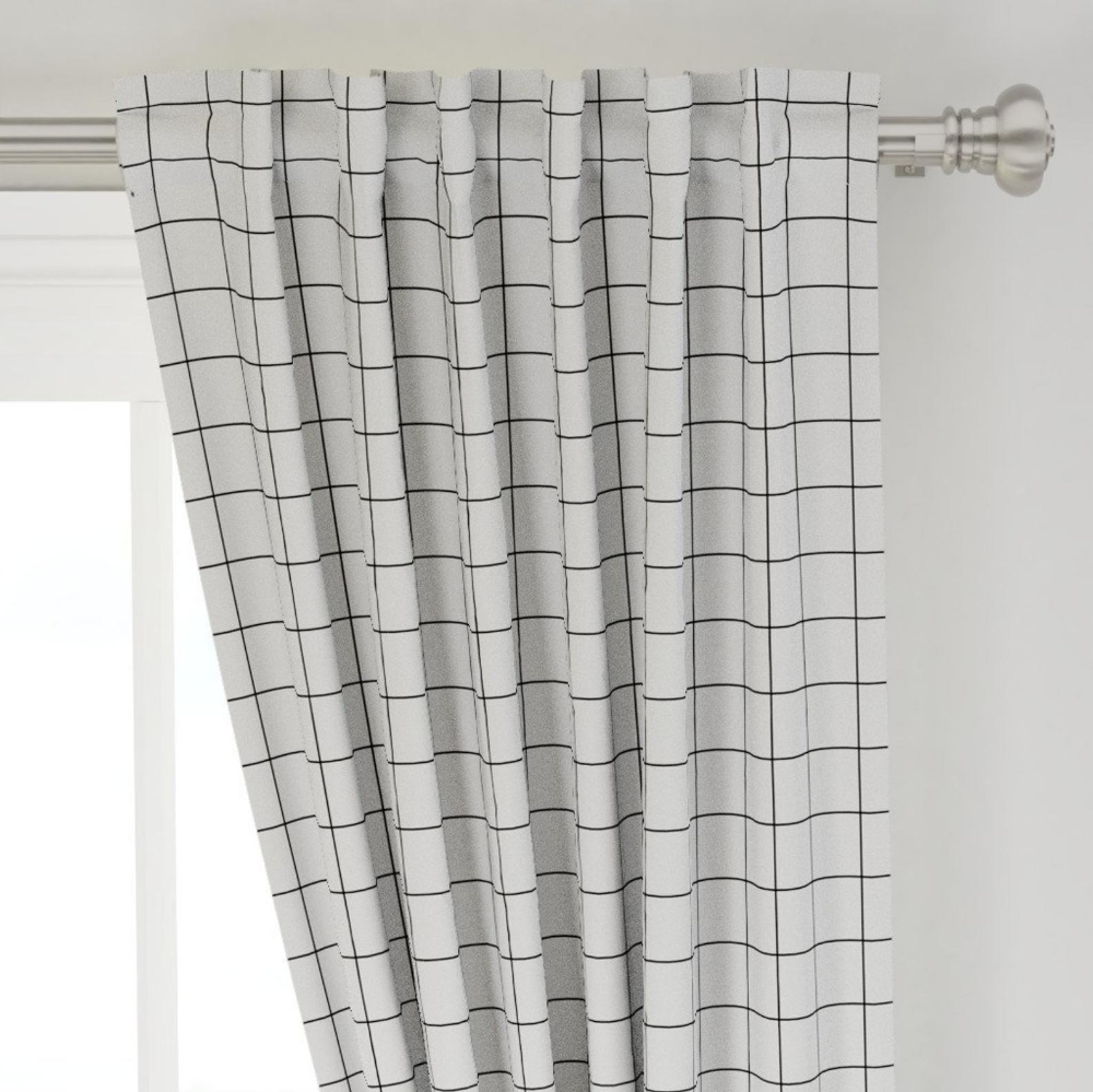 Square Grid Curtain Panel Black And White Windowpane Grid Etsy Panel Curtains Curtains Sophisticated Bedroom