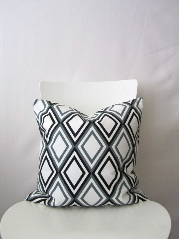 18 inch throw pillow cover Diamonds gray black and by bisousrose, $15.95