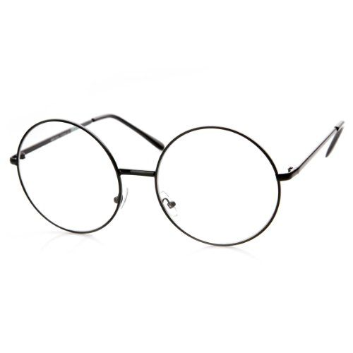 53c79b8990 zeroUV Large Oversized Metal Frame Clear Lens Round Circle Eye Glasses  Black    Read more