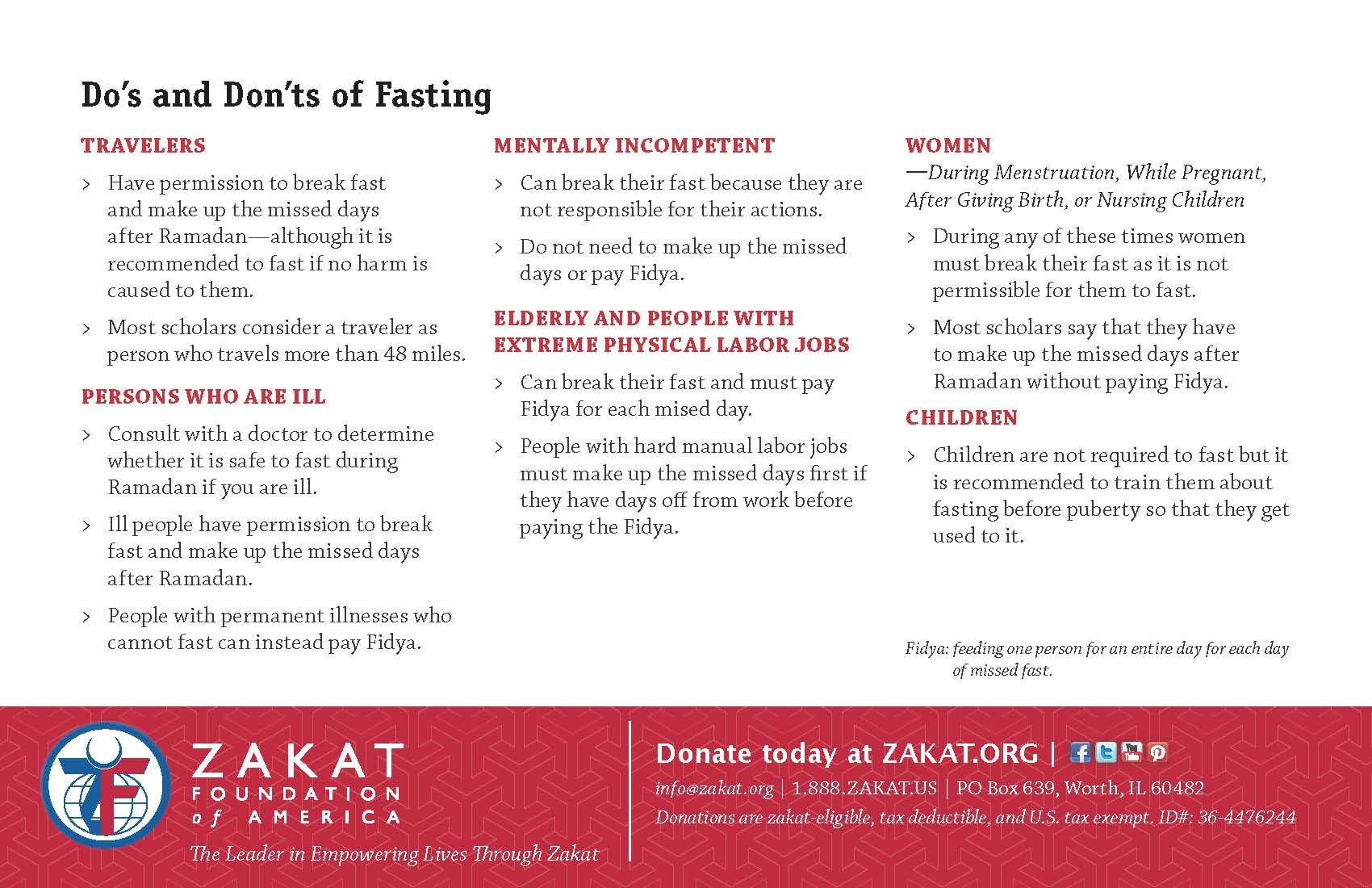 Do's and Dont's of Fasting
