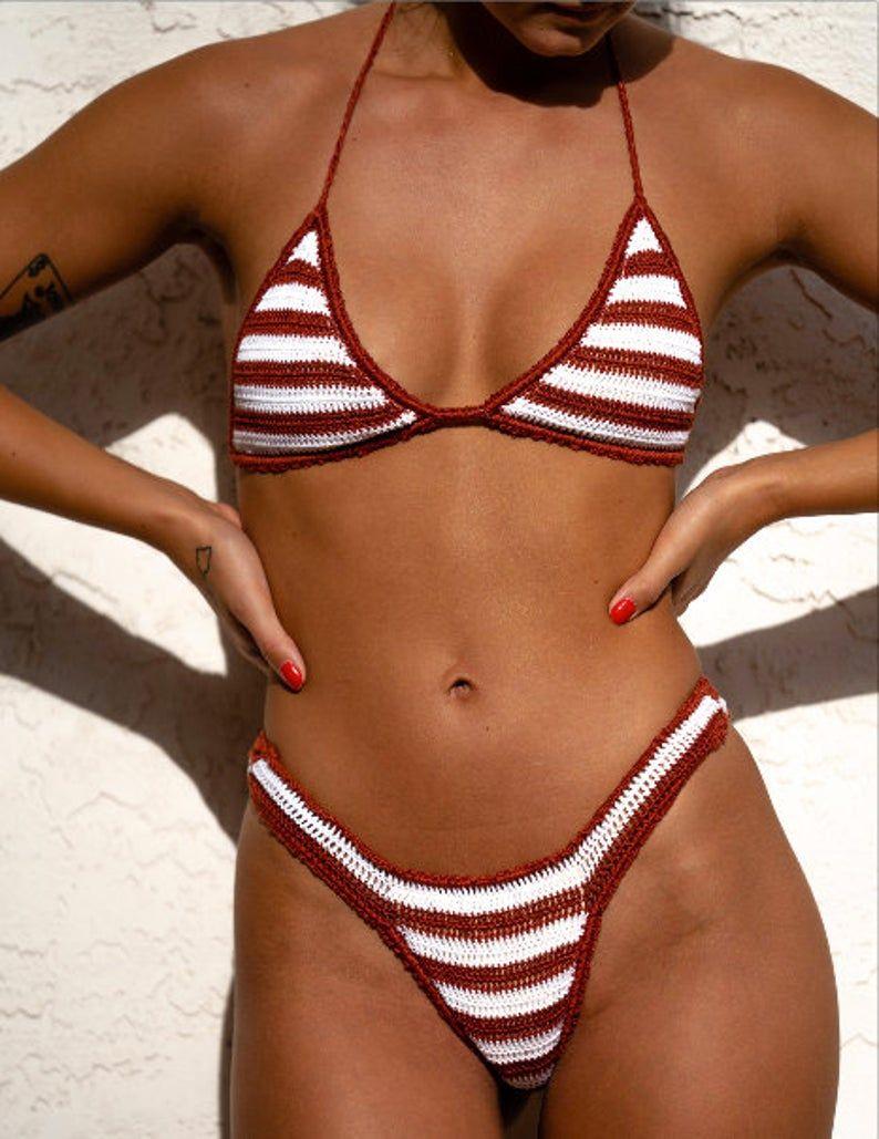 boho  bikini top orange bikini top crochet summer top bikini women shiny bikini bralette triangle bikini top Crochet bikini top
