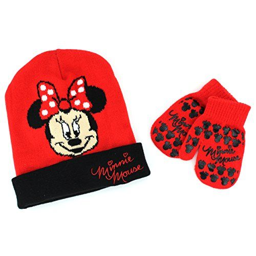 OFFICIAL Disney MINNIE MOUSE Baby Toddlers Girl 2pcs SET Winter Hat and Gloves