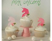 12 piece one-sided pink Unicorn cupcake toppers  with a sparkle of glitter! Birthday- Baby Shower- Bridal Shower
