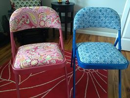 I reupholstered these folding chairs and spray painted them. Idea from Pinterest.