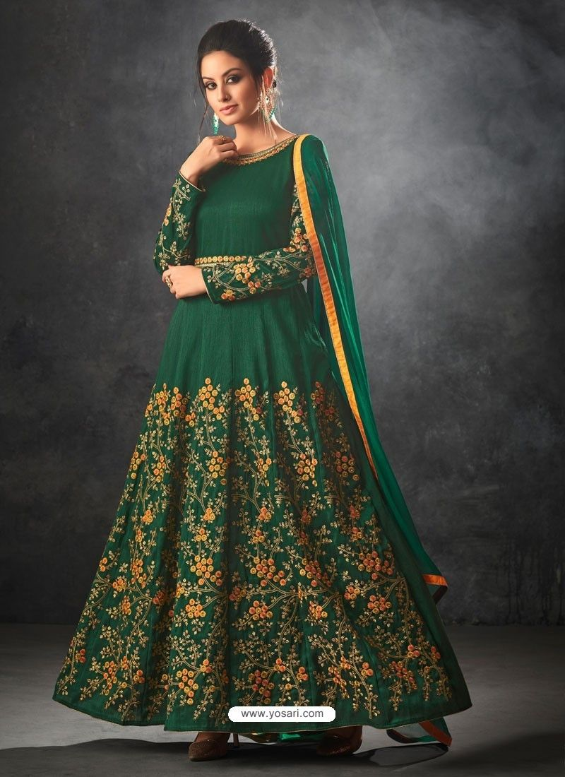 5b113c0bb Dark Green Art Silk Thread And Jari Embroidered Floor Length Suit ...