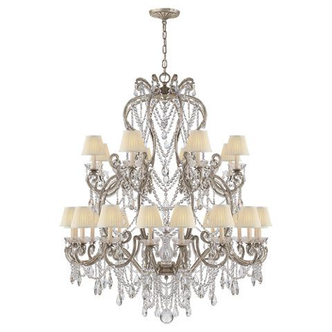 Adrianna Large Chandelier In Antique Silver Leaf With