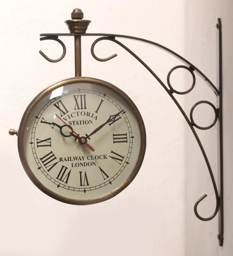 Handcrafted Golden Brass Victoria Station Clock Antique Double Side Clock Vintage Wall Clock In 2020 Vintage Wall Clock Victorian Clocks Vintage Clock