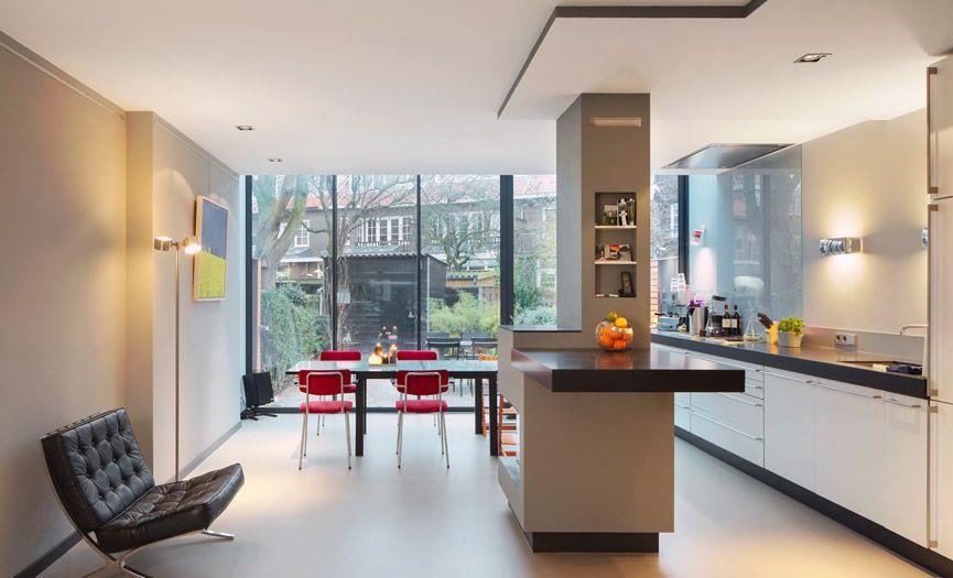 Open Keuken Bar : Open keuken en losstaande openhaard met bar architectuur