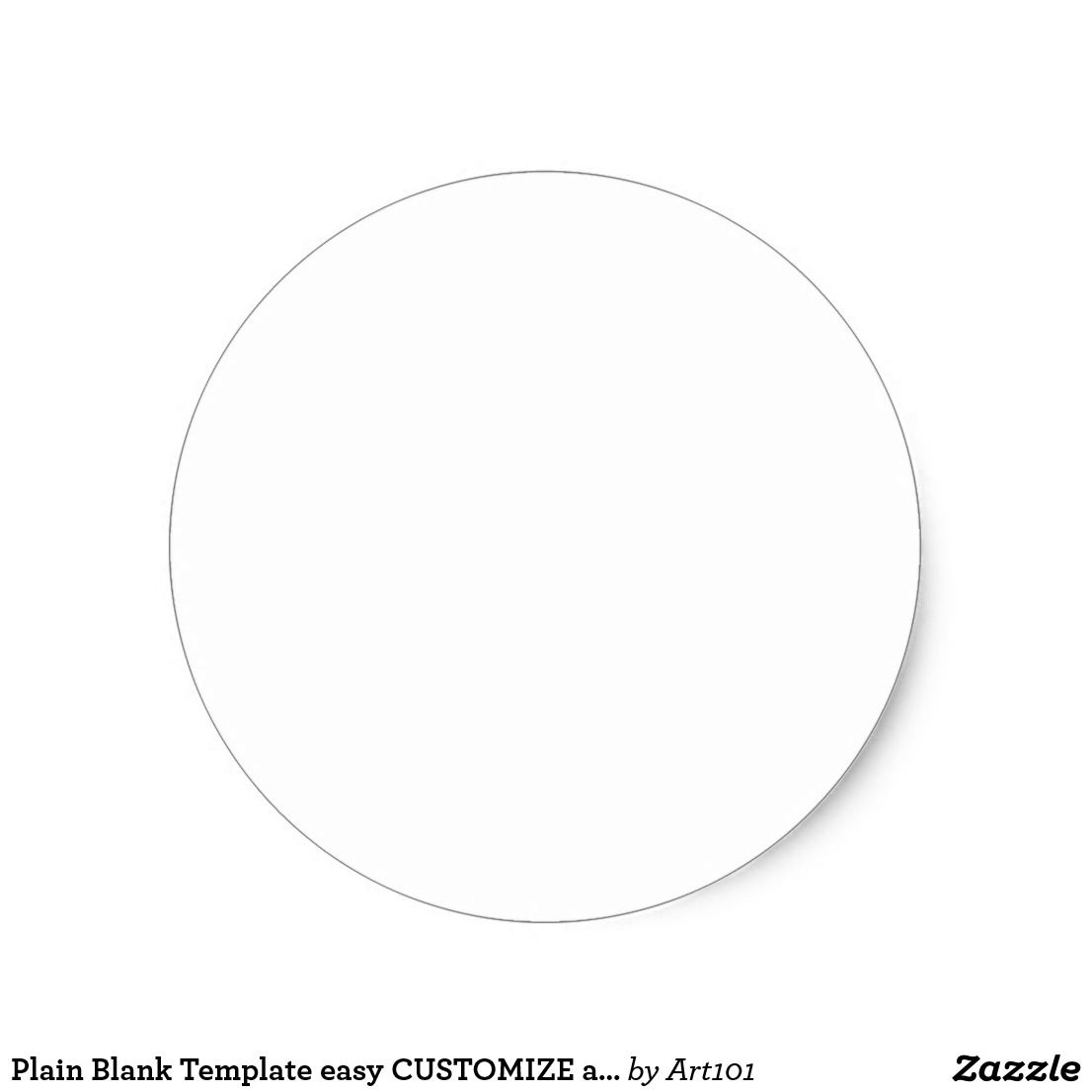 Plain Blank Template Easy CUSTOMIZE Add Text Photo Classic Round - Round sticker template