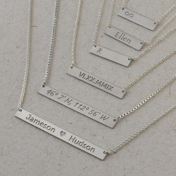 334666b85d4 Silver Bar Necklace - Personalized Jewelry. Monogram & Name ...