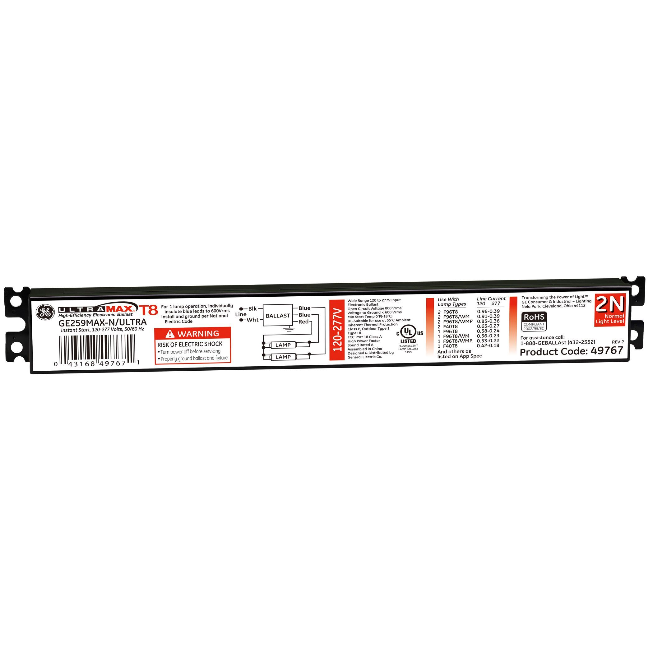 Ge Lighting 23954 Universal Electronic Fluorescent Ballast Lights Black Products
