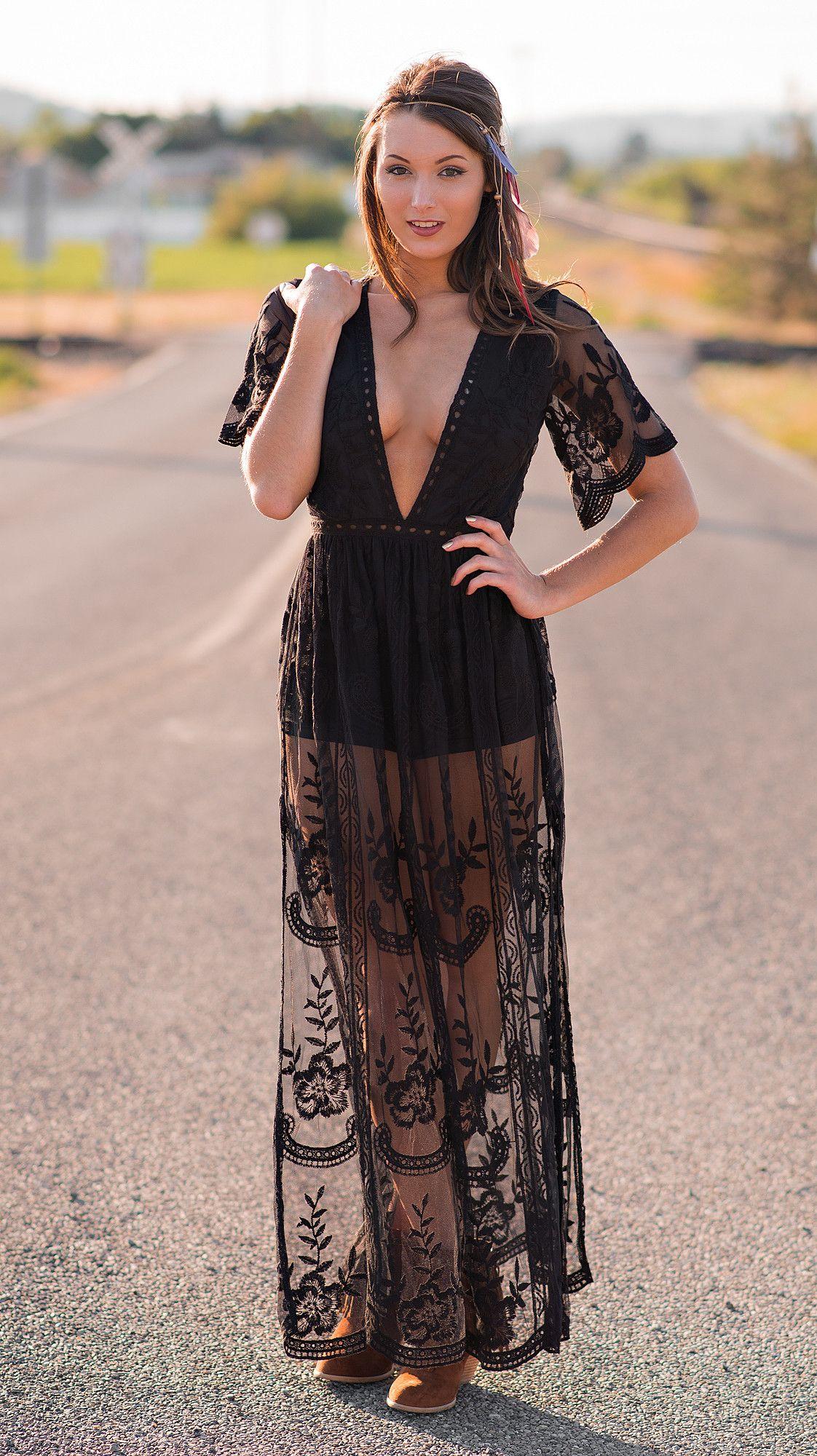 Sweetest Bohemian Gypsy Lace Maxi Dress (Black) | Lace maxi ...