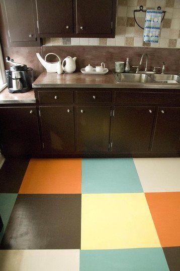 Nice linoleum tile treatment Easy to do! Kitchen Ideas