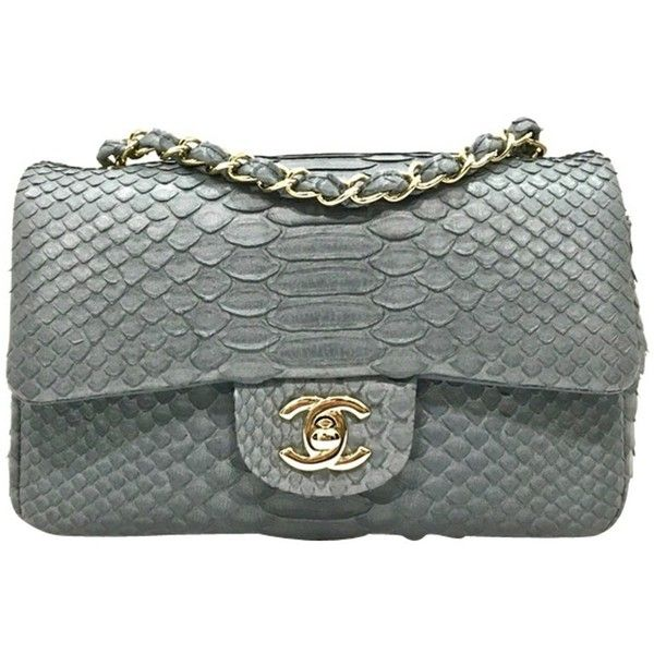 Pre Owned Classic Flap Bag New Mini Python Leather 5 000 Liked On Polyvore Featuring Bags Handbags Bags Genuine Leather Handbag Real Leather Handbags