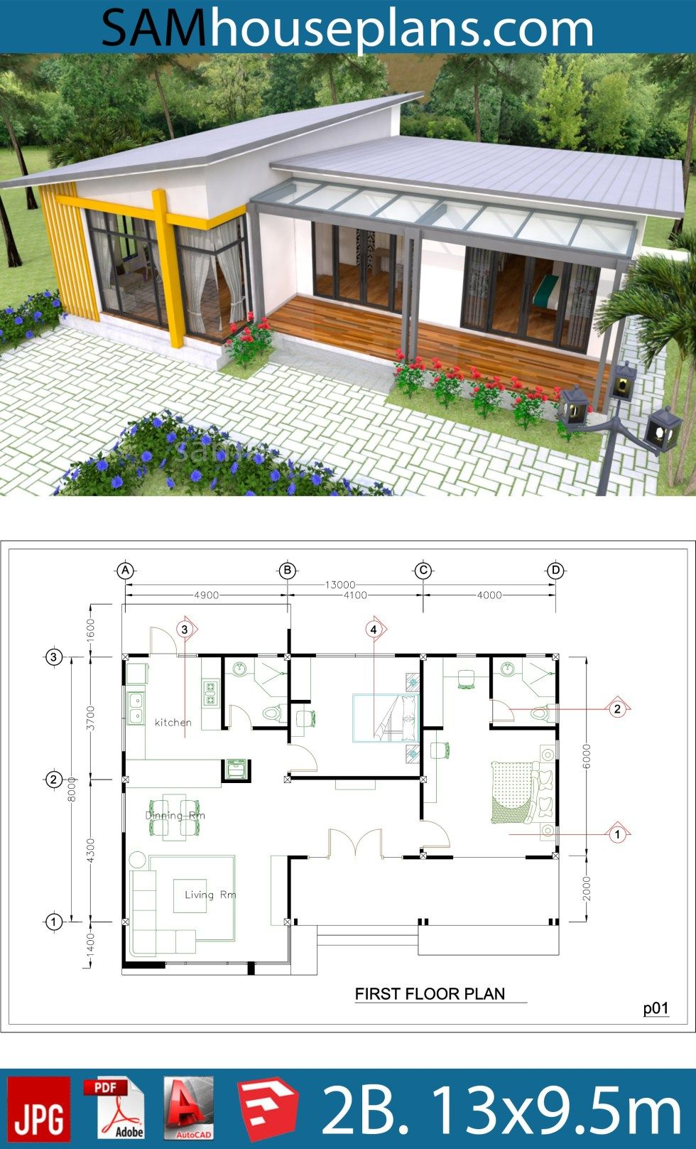 Photo of House Plans 13×9.5m Full Plan 2Beds – Sam House Plans