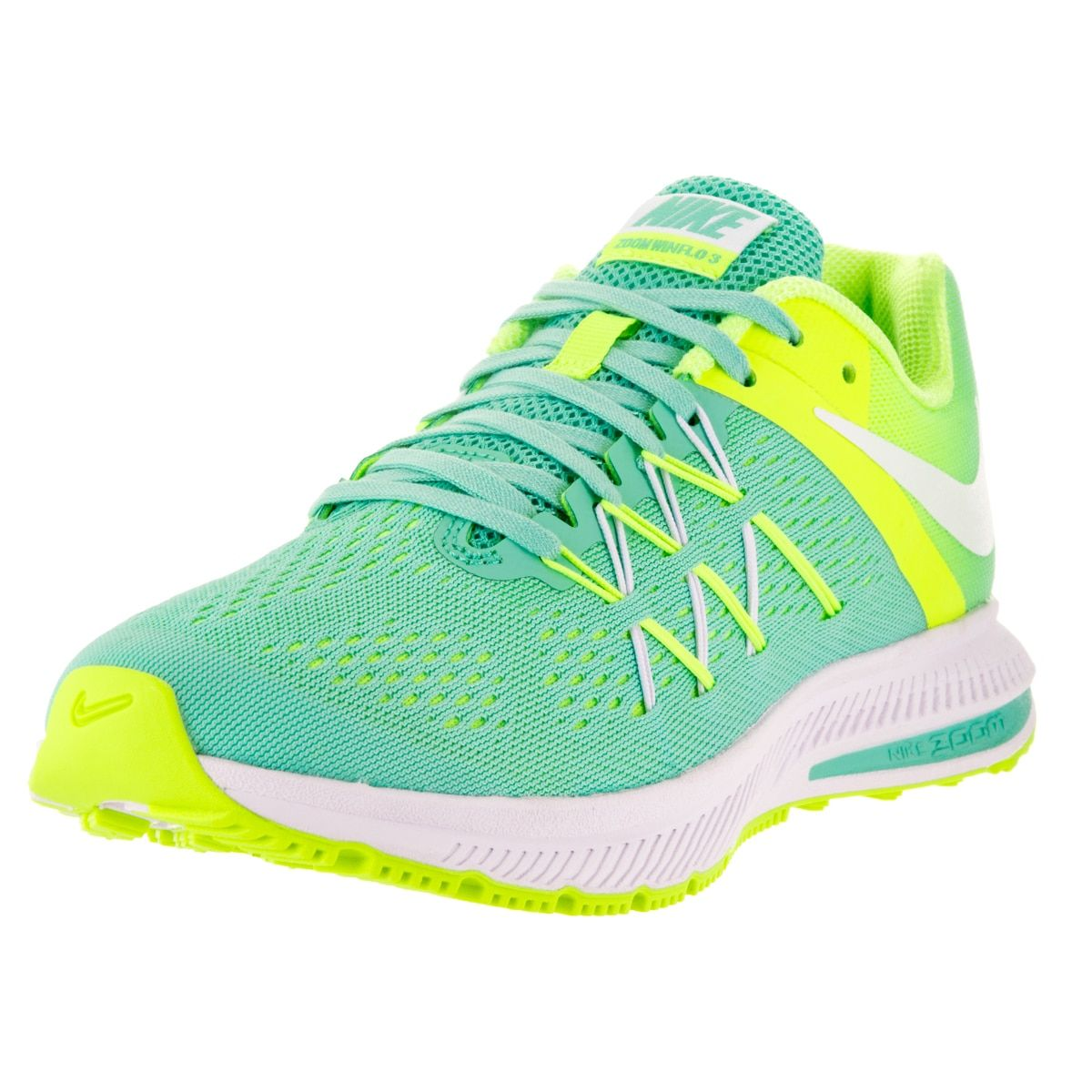 the best attitude 61dd7 80a91 ... nike womens zoom winflo 3 hyper turquoise volt and white plastic  running shoes . ...