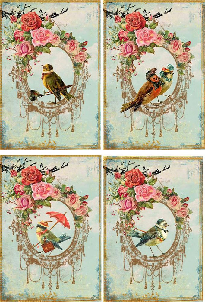 Vintage inspired Bird note cards set of 8 tags ATC altered art