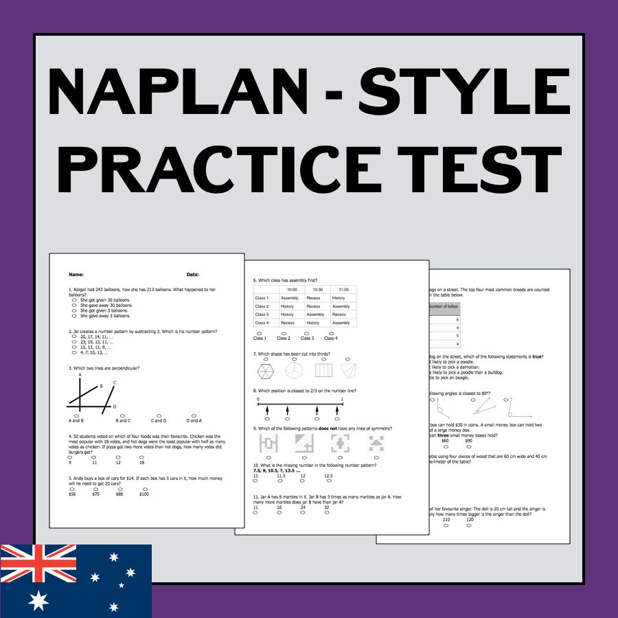 Naplan Style Practice Test Year 5 Numeracy Teaching