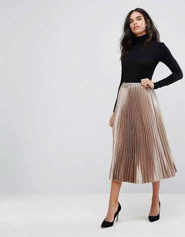 2079413869 Metallic Pleated Skirt by Y.a.s. Skirt by Y.A.S, Lightly pleated fabric, Mid -rise, Stretch waistband, Regular fit - true to size, Machine wash, ...