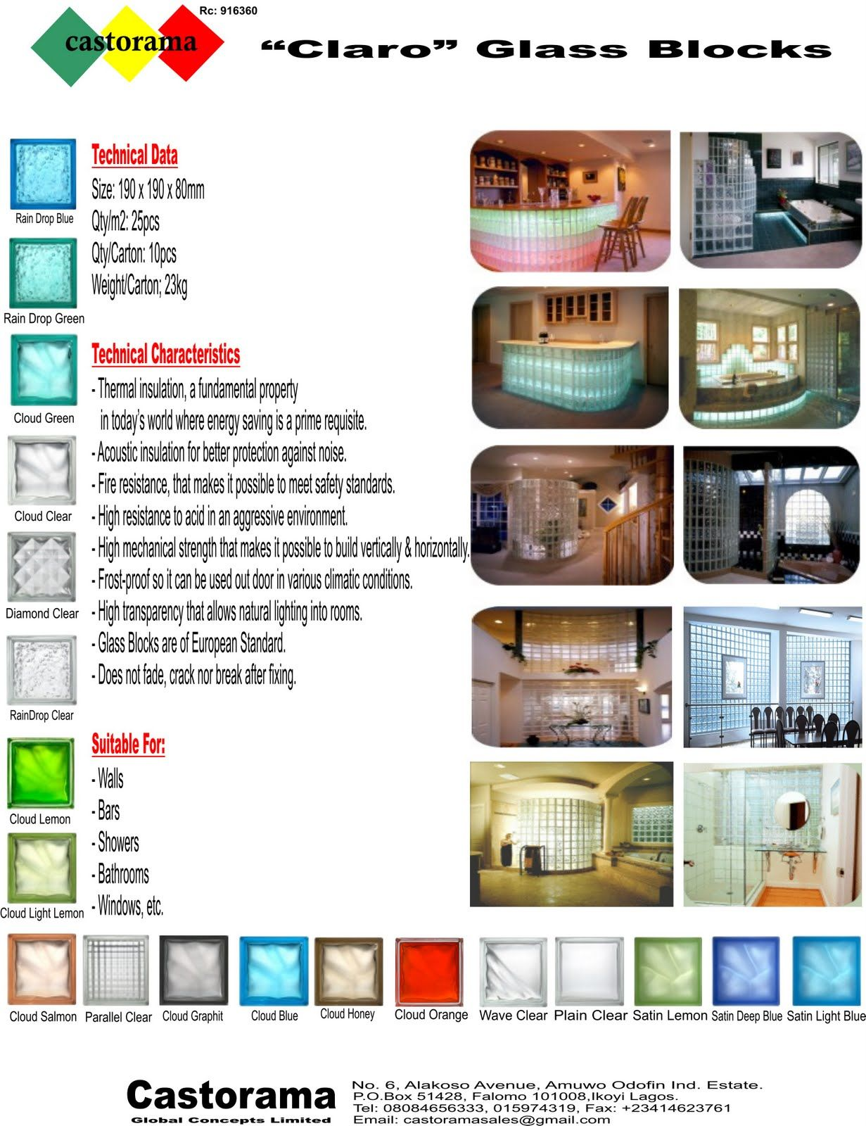 """Image detail for -... GLOBAL CONCEPT LIMITED: """"CLARO"""" GLASS BLOCKS - European Standard"""