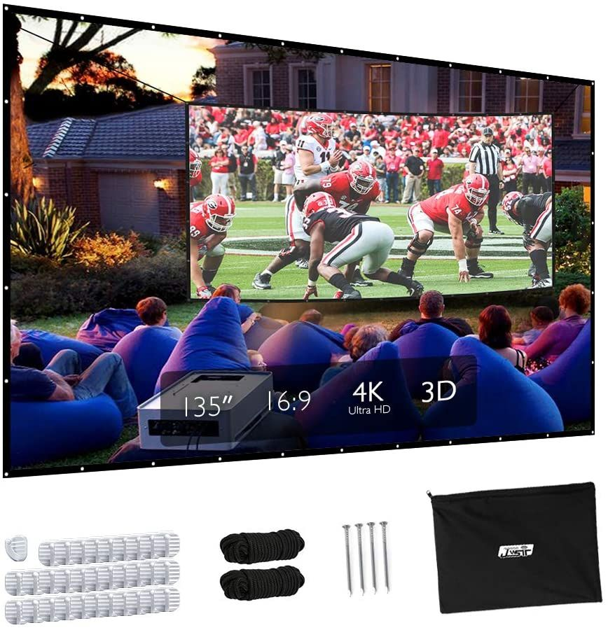Projector Screen Upgraded 135 Inch 4k 16 9 Hd Portable Projector Screen Premium Indoor O Amazon Af In 2020 Outdoor Movie Screen Portable Projector Projector Screen