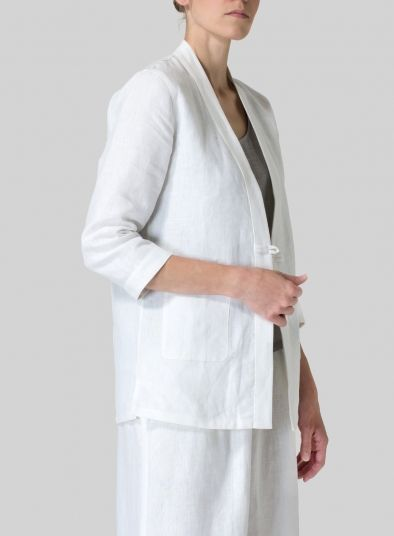 MISSY Clothing - Linen Handmade Knot Button Tapered Jacket