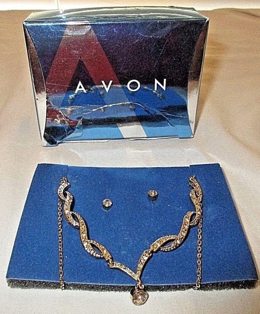 e11b879ba7590 Vintage avon goldtone/crystal drop necklace/pierced earrings set/nib ...