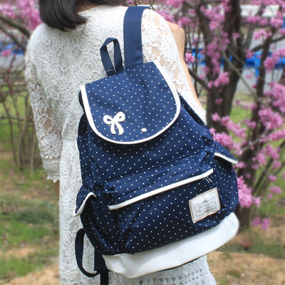 """Students bow canvas backpack Coupon code """"cutekawaii"""" for 10% off"""