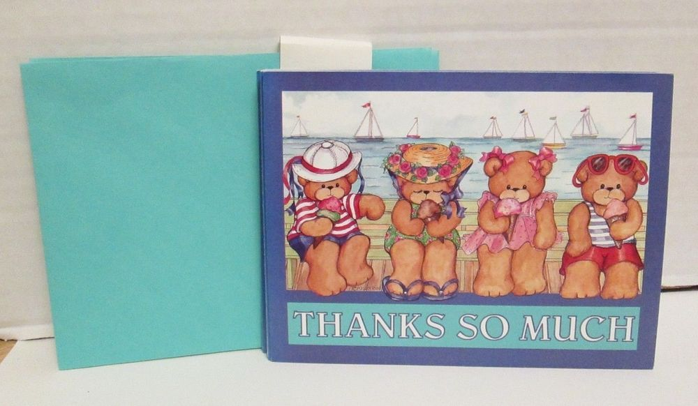 Current inc lucy co lucy rigg thank you greeting cards beach teddy current inc lucy co lucy rigg thank you greeting cards beach teddy bears 10 pc m4hsunfo
