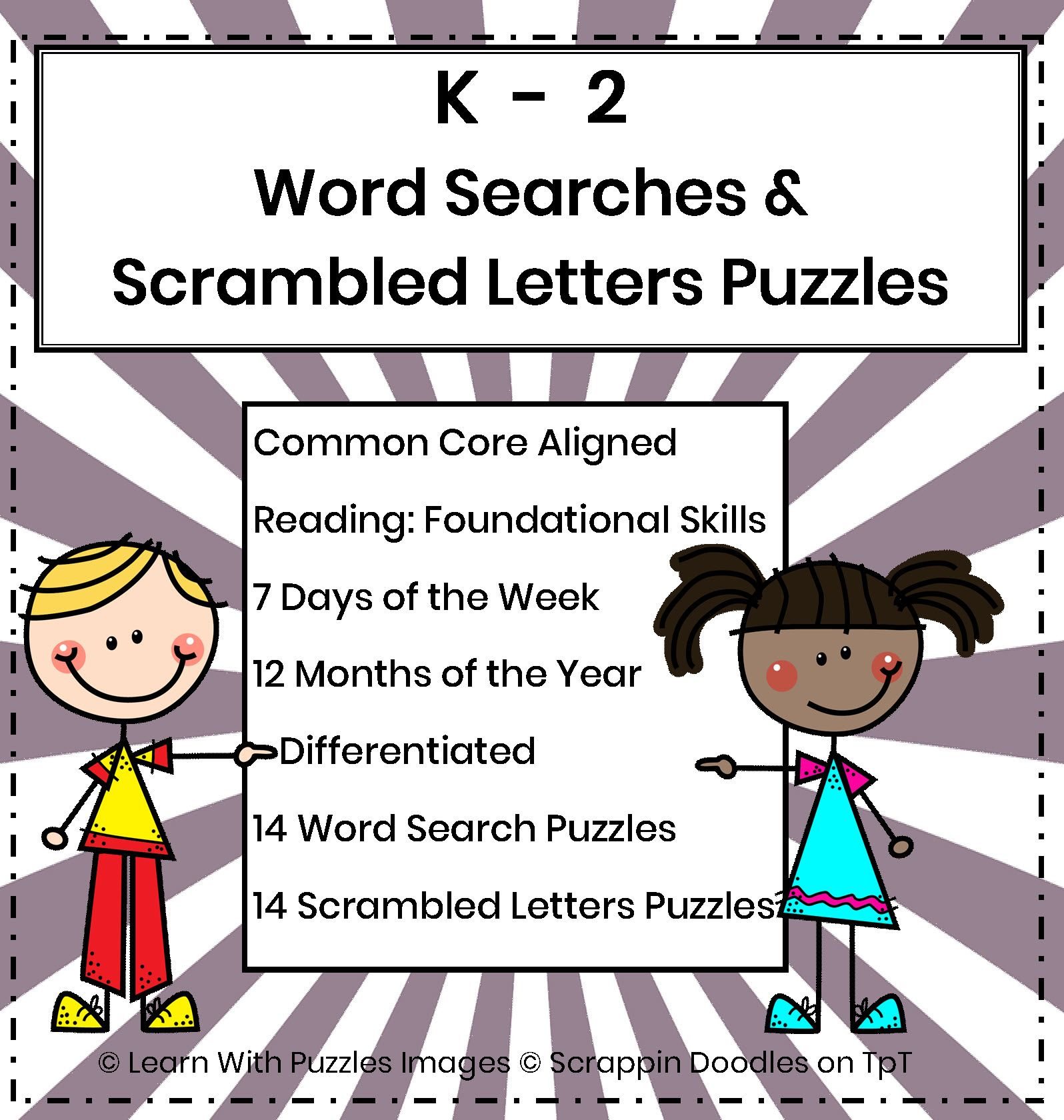 K 2 Word Search and Scrambled Letters Puzzles Common