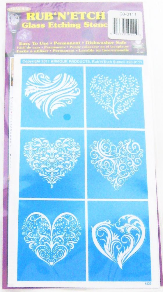 Details About Rub N Etch Stencil Sets For Use With Armour Etch Cream