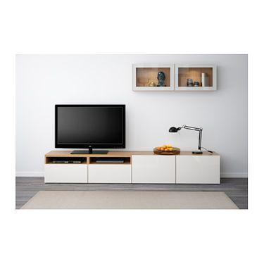 Wohnwand ikea besta  BESTÅ TV storage combination/glass doors Oak effect/selsviken high ...