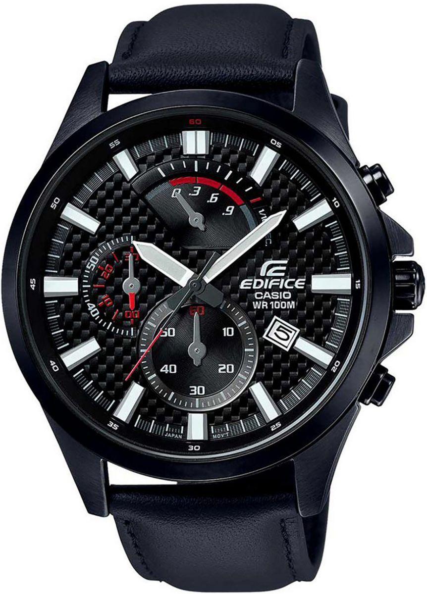 ساعة جلد طبيعي دائرية انالوج بعقارب للرجال ايديفايس من كاسيو Efv 530bl 1avudf اسود Casio Edifice Casio Watches For Men