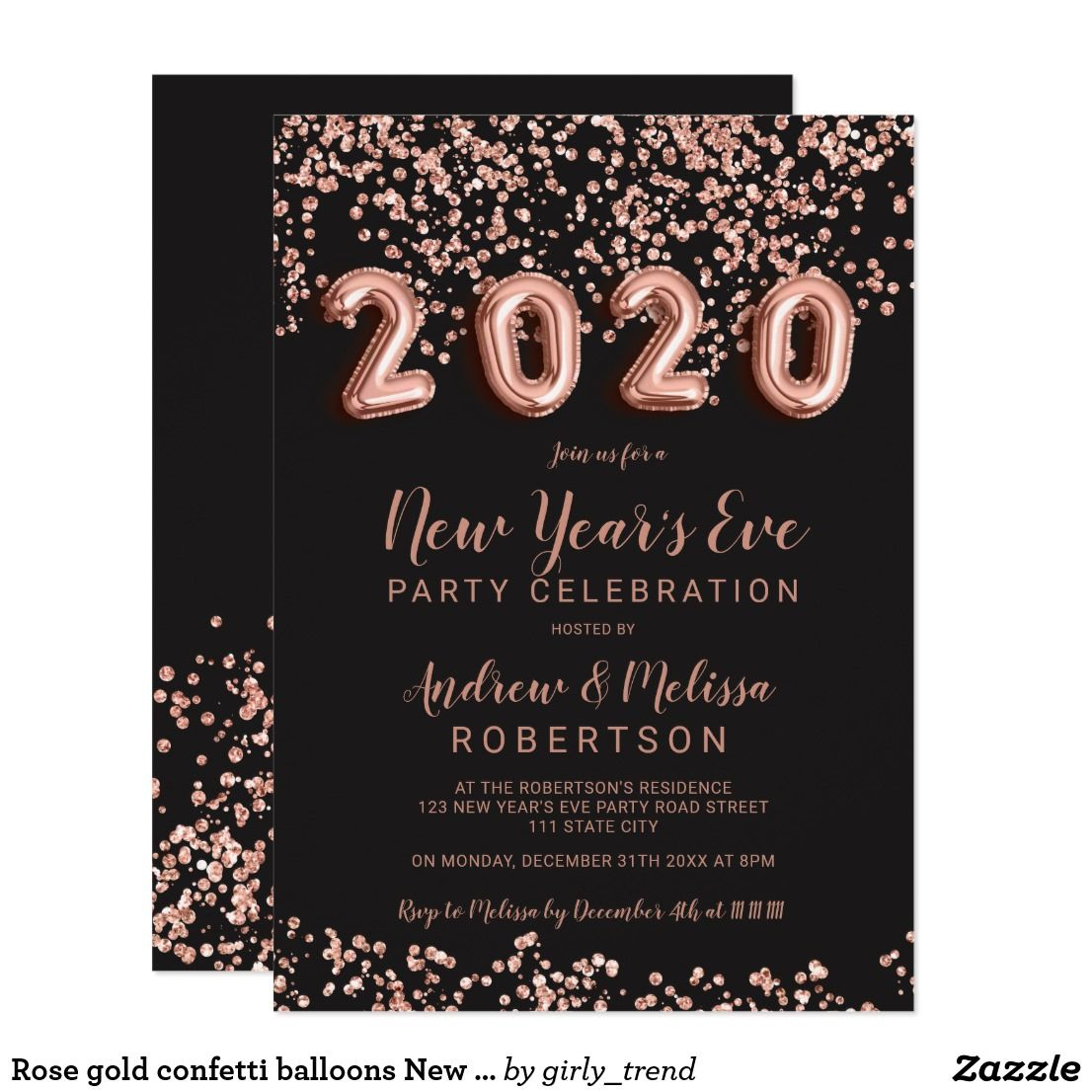 Rose gold confetti balloons New Year's eve 2020 Invitation