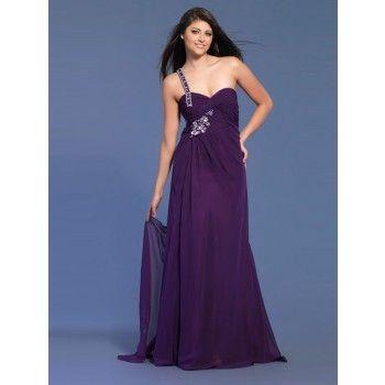 Elegante One Shoulder Abendkleider Lang Chiffon Lila   Abendkleider ...
