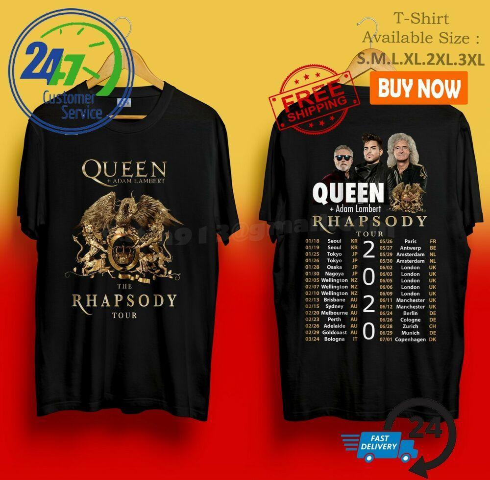 Christmas Queens Tour 2020 New QUEEN + Adam Lambert The Rhapsody Tour 2020 Black Tshirt S 3XL