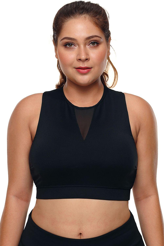 Black Plus Size High Neck Sleeveless Sport Bra Online