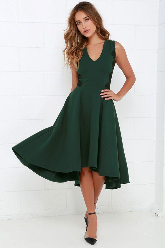 Hazel Room Service Dark Green Lace Midi Dress Sponsored by Lulus.com 4c4e331a8a79