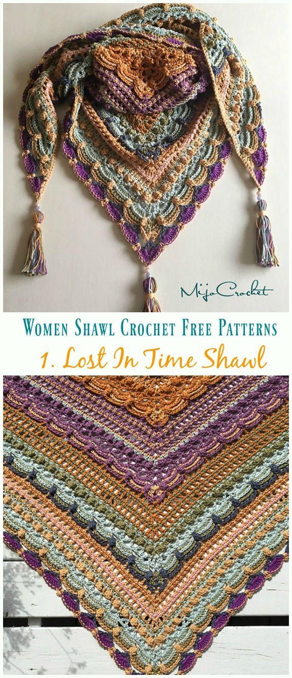 Lost In Time Shawl Crochet Free Pattern - Trendy Women Shawl #crochetshawlfree