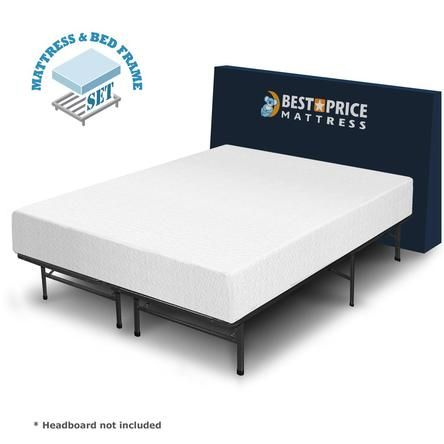 Night Essentials Full 10-inch Memory Foam Mattress + Steel Bed Frame Set. No Box Spring need.