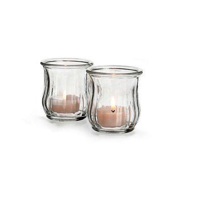 2 kleine Windlichter aus Glas, H:6,5cm, klar